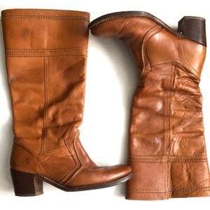 Frye Jane 14L Tall Pull-On leather Boots Cognac 8B
